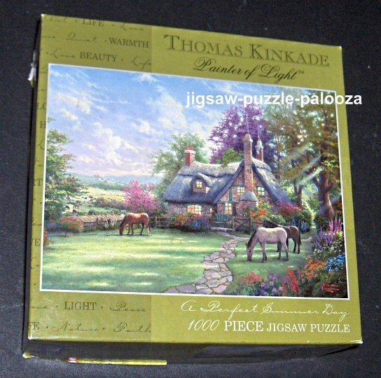 FOR SALE - Thomas Kinkade 1000 Piece Jigsaw Puzzle - A Perfect Summer Day - COMPLETE - 3310-37