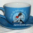 Large Tweety Sylvester Ceramic Coffee Mug Saucer Plate Blue Roast Cup Looney Tunes Warner Bros 1997