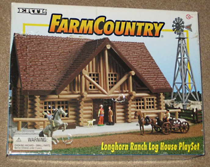Sold Ertl Farm Country Longhorn Ranch Log House Playset