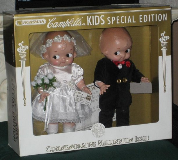 Campbell's Kids Bride & Groom Dolls Boy Girl Horsman Special Edition Millenium Issue 2001 7217-3 MIB
