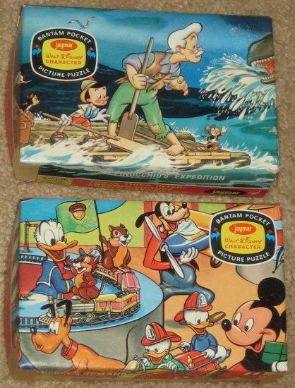 Bantam Pocket Picture Jigsaw Puzzle Lot of 2 Pinocchio Mickey Mouse Disney Jaymar Vintage