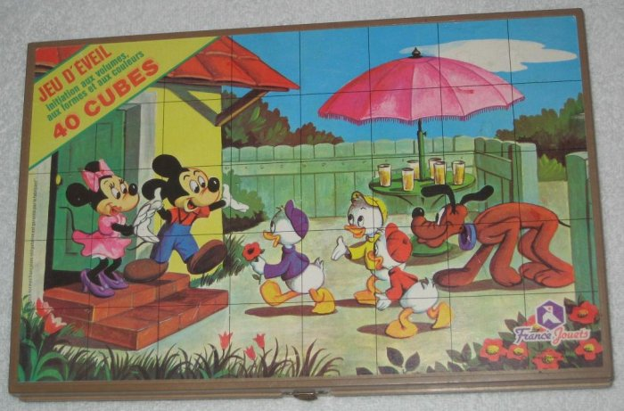 SOLD Disney 40 Block / Cube Puzzle - 6 Puzzles - Mickey Mouse - Minnie - Pluto - France