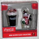 Coca-Cola Mini Blown Glass Ornaments Lot of 6 Different Coke Christmas Holiday New NIB