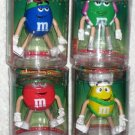 M&M's Candies Bendable Body Characters Christmas Holiday Set of 4 Green Blue Red Yellow Plain Peanut