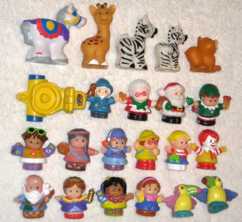 Fisher Price Piece Lot Little People Christmas Village Shops Animals Furniture FP Chunky