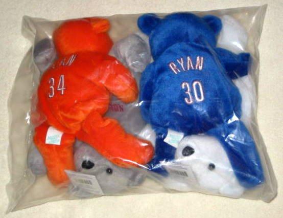 Salvino's Nolan Ryan Bammers Set of 4 Bears Beanbags Mets Angels Astros Rangers Factory Sealed