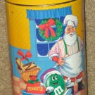 M&M's M&M Peanut Candies Tin Can Container Christmas 1994 Santa Claus Yellow Red Orange Green