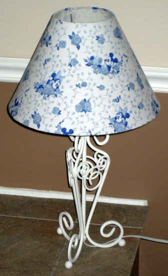 Set Of 2 Mickey Amp Minnie Mouse Blue Toile Table Desk Lamps