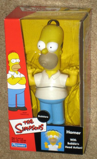 Homer Simpson The Simpsons Bobbler Doll Bobblehead Bobble Head Nodder Playmates 2002 NIB
