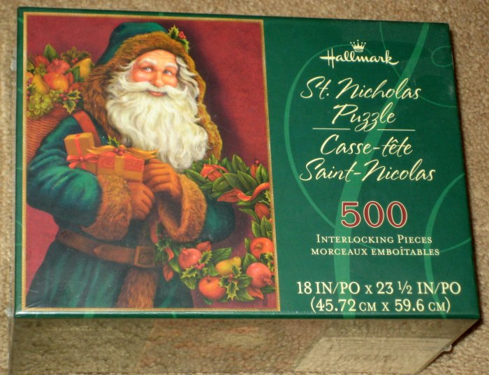 SOLD St Saint Nicholas 500 Piece Jigsaw Puzzle Santa Claus Hallmark Christmas Holiday SEALED