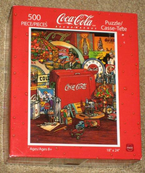 SOLD Coca-Cola 500 Piece Jigsaw Puzzle Coke COMPLETE Old Signs Soda Machine Clock Artwork