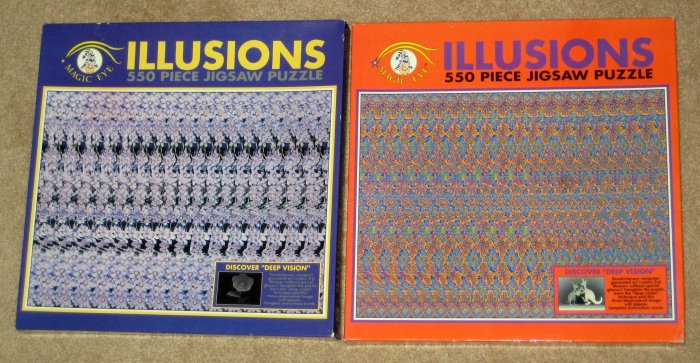 SOLD OUT Magic Eye 3D Illusions 550 Piece Jigsaw Puzzle Lot of 2 Kangaroo Flower Ceaco SEALED