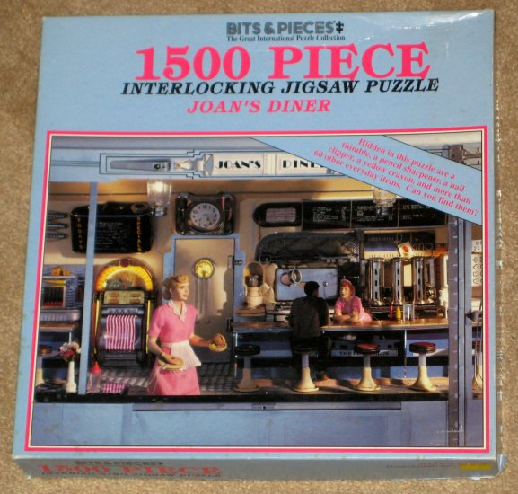 SOLD OUT Joan's Diner 1500 Piece Jigsaw Puzzle Bits & Pieces 03-0417 Hidden Items COMPLETE