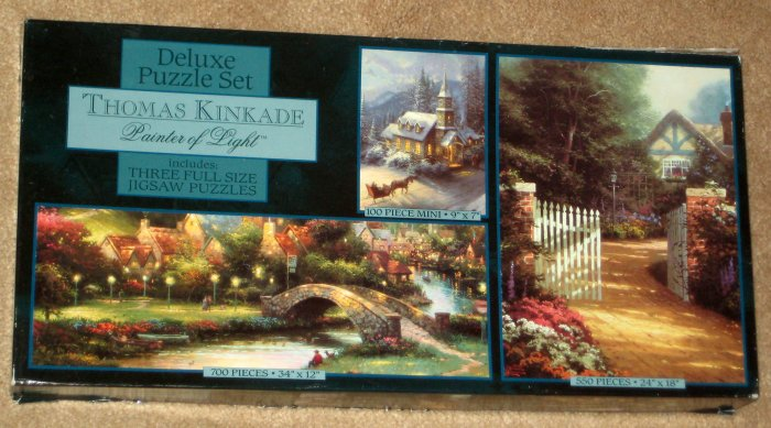 SOLD Thomas Kinkade Deluxe Three Jigsaw Puzzle Set 700 550 100 Piece COMPLETE 3632-4
