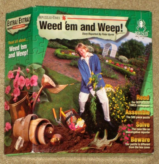 SOLD Weed 'em and Weep 500 Piece Bepuzzled Mystery Detective Jigsaw Puzzle 1997 SEALED