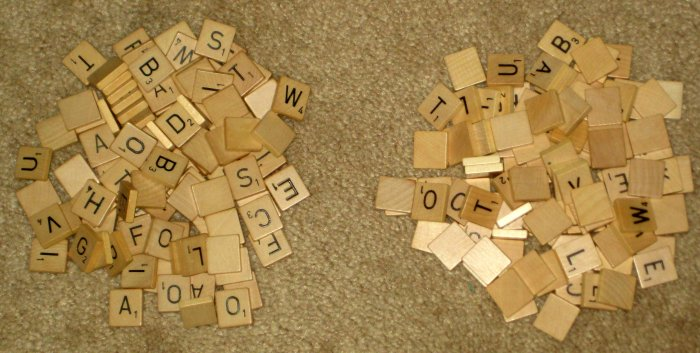 SOLD 634 Wood Scrabble Tiles Wooden Selchow & Righter Hasbro Crossword Replacement Crafts
