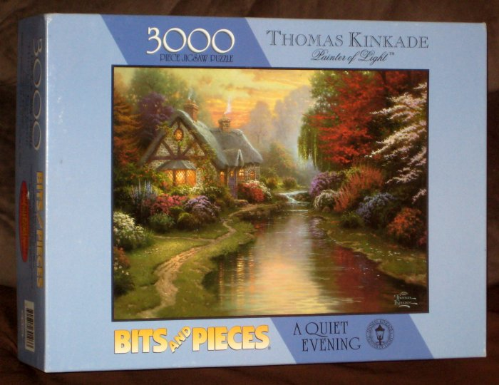sold a quiet evening thomas kinkade 3000 piece jigsaw puzzle bits and pieces 03 0103 complete. Black Bedroom Furniture Sets. Home Design Ideas