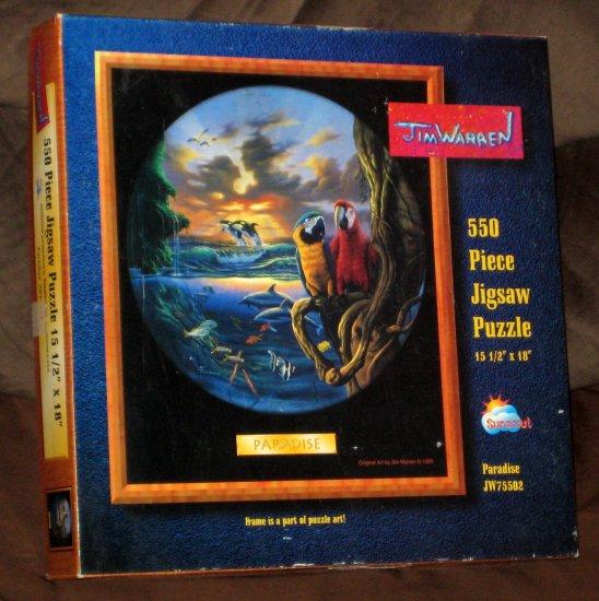Paradise 550 Piece Jigsaw Puzzle SunsOut JW75502 Parrots Jim Warren Complete 1995