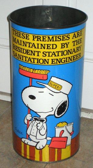 SOLD Snoopy Large Tall Metal Trashcan Trash Can Wastebasket Waste Basket Peanuts Gang Tin Joe Cool