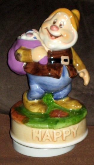 Snow White Lot Schmid Happy Ceramic Musical Figurine 358 Seven Dwarfs Music Box Make Someone + Vase