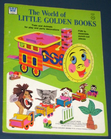 The World of Little Golden Books 1932 Train and Animals Punch-Out Book Whitman 1974