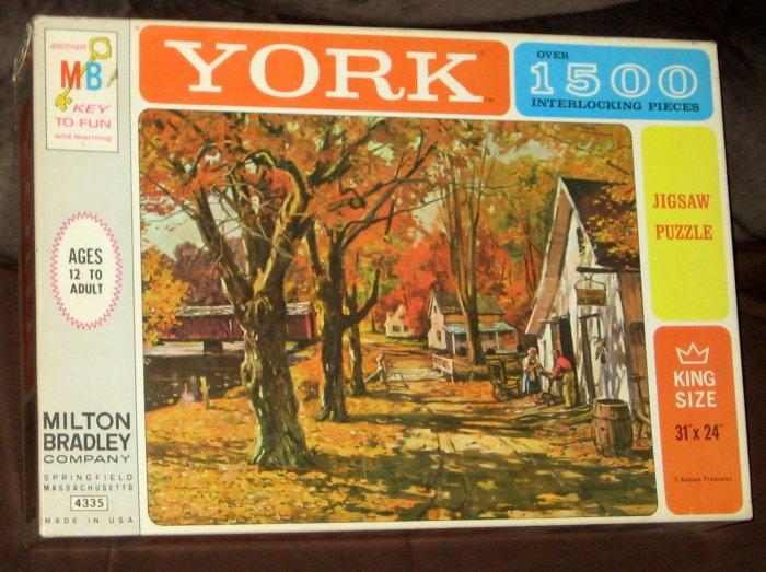 SOLD Autumn Treasures York 1500 Piece Jigsaw Puzzle 4335-5 King Size MB Milton Bradley 1963 SEALED
