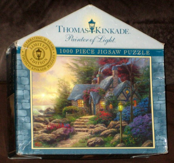 SOLD Thomas Kinkade Jigsaw Puzzle Lot 300 750 1000 Piece 3-D Courage The Open Gate Seaside Hideaway