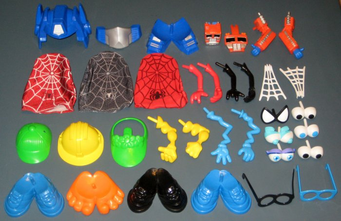SOLD Mr Potato Head Parts Pieces Heads Lot Spiderman Transformer Ghost Spider Man Silly Suitcase