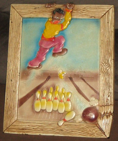 Black Americana Art Humor Wall Plaque Artwork Bowling Ball Pins Alley Timely Products Hadley 1947