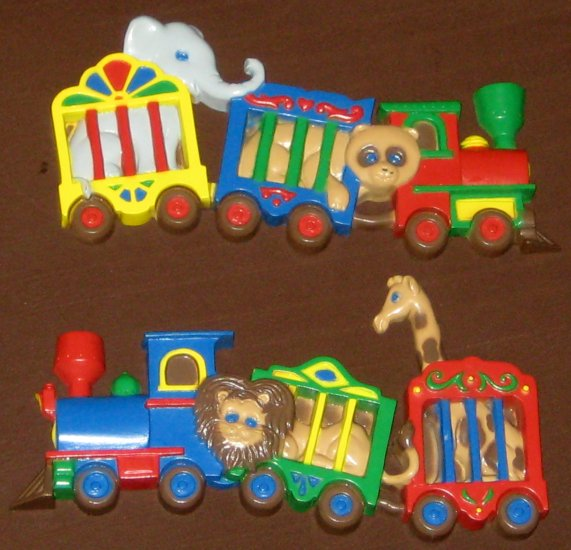 Burwood Products Circus Animal Train Wall Plaque Set 3109-1 3109-2 Elephant Lion Giraffe Bear 1991