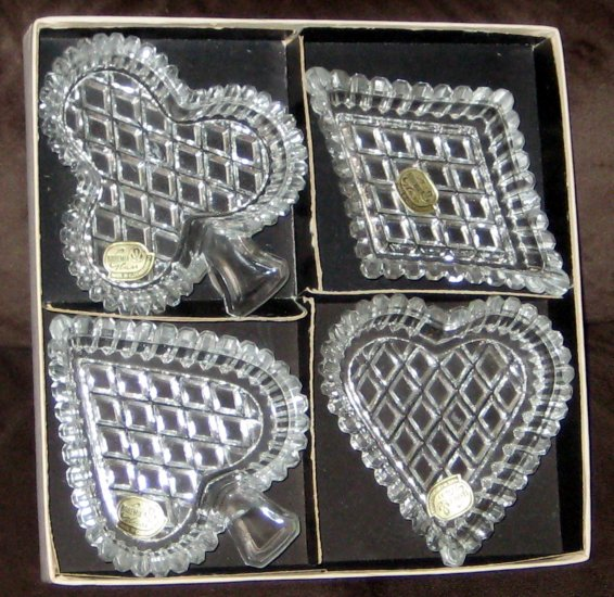 Sold Bohemia Glass Ashtray Candy Dish Set Poker Card Suits