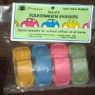 Vintage Volkswagen Rubber Erasers Lot of 7 Beetle Bug VW Car Non Toxic Chadwick Miller 1977 Unused