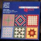 Springbok Jigsaw Puzzle Lot of 2 Six Great American Quilts PZL3509 4-in-1 Cross-Stitch PZL3432