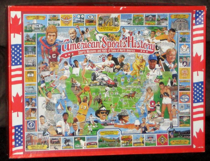 American Sports History 1000 Piece Jigsaw Puzzle Museums Hall of Fame Complete 1995 White Mountain