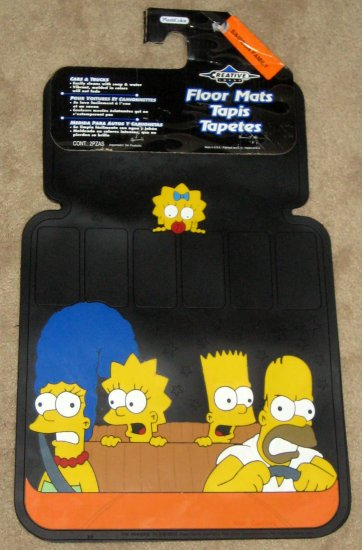 Sold Simpsons Auto Car Floor Mats Set Of 2 Heavy Rubber