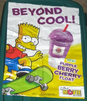 Sold Out Simpsons Movie Burger King Kids Meal Toys Promo Signs Vinyl Window Clings 2007 Bart Lisa