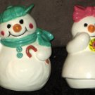 Snowman & Snowlady Salt and Pepper Shaker Set Ceramic Snowwoman S&P