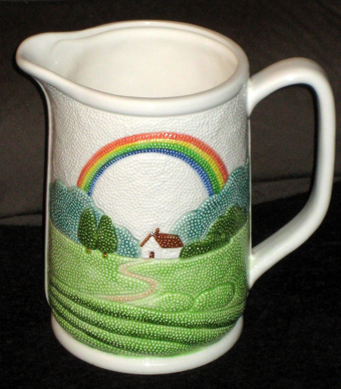 Otagiri Textured Country Farmhouse Rainbow Ceramic Water Pitcher Milk Jug Dimpled Handled