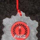 Coca Cola Glass Snowflake Christmas Tree Ornament Coke Contour Bottle 453250 Enesco 1998