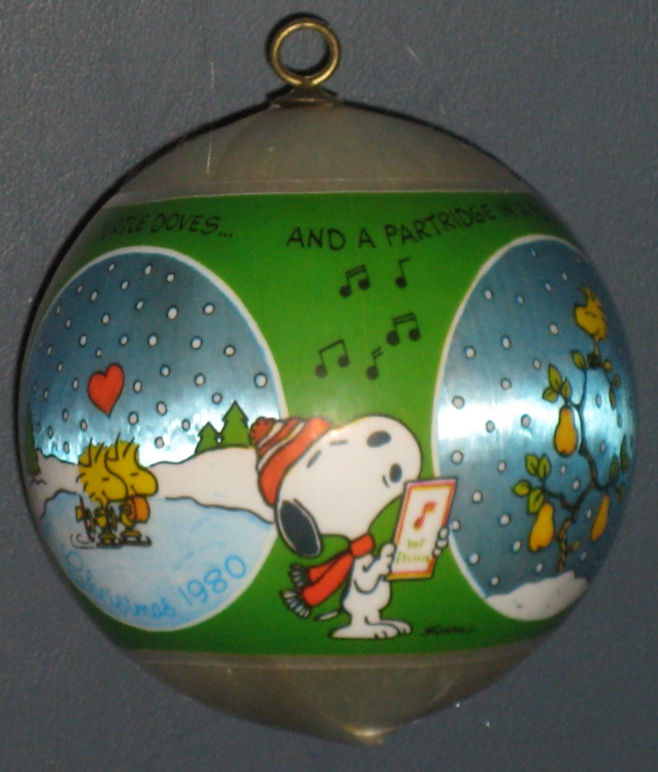 SOLD Snoopy & Woodstock 1980 12 Days of Christmas Ball Ornament Joe Cool Peanuts Gang