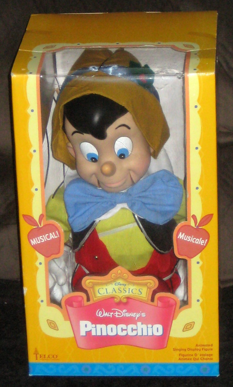 SOLD Pinocchio Animated Singing Christmas Puppet Marionette Figure Telco NIB Disney Battery Operated