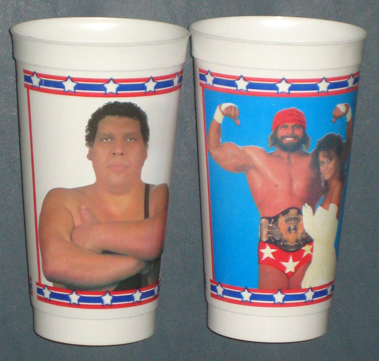 SOLD WWF Superstar Wrestlers Plastic Icee Cup Lot  Andre the Giant Randy Macho Man Savage Elizabeth