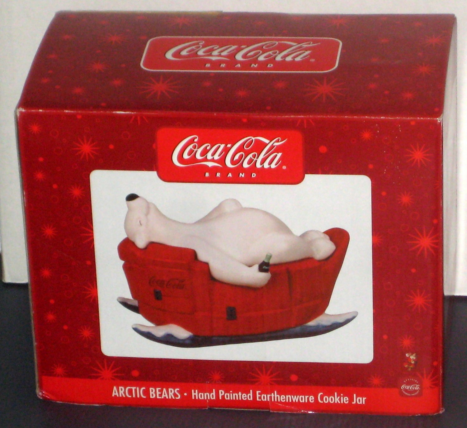 Coca-Cola Arctic Bears Ceramic Cookie Jar Polar Coke Hand Painted Earthenware Sakura
