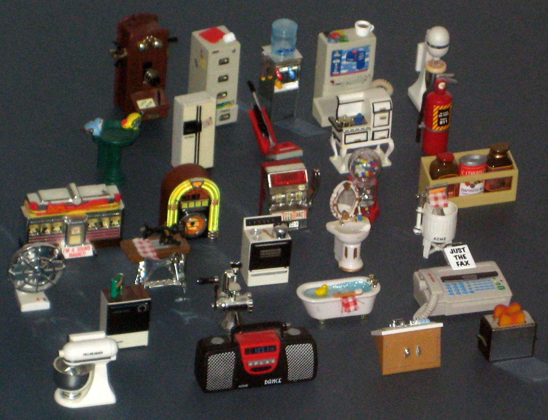 SOLD Acme Refrigerator Magnet Lot Dollhouse Furniture Sound Jukebox Telephone Diner Gumball Machine