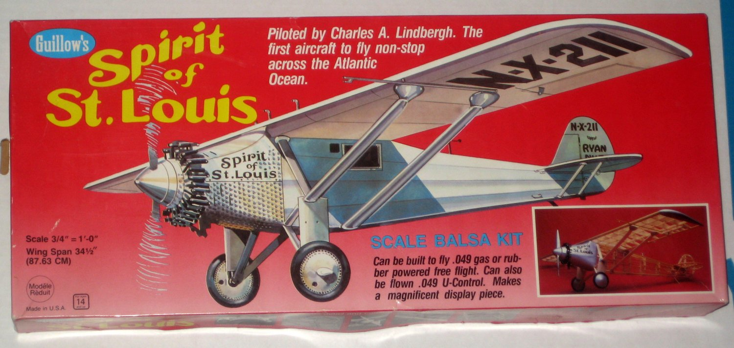 Spirit of St Louis 1:16 Scale Balsa Airplane Kit 807 Guillow's Charles Lindbergh 1987