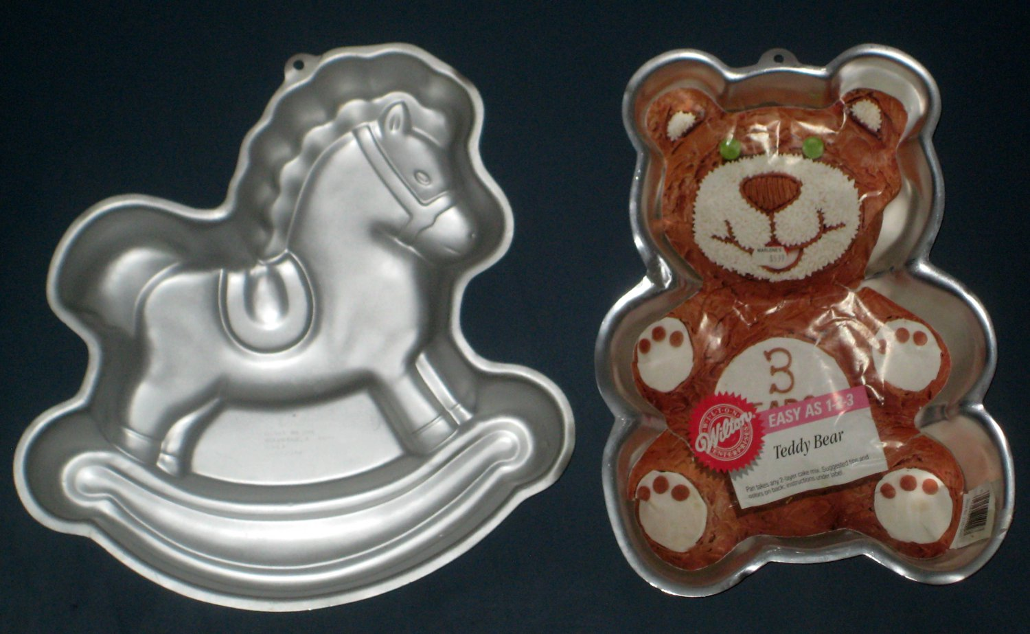 Wilton Animals Aluminum Cake Pan Lot Of 2 Rocking Horse Teddy Bear 2105 9402 2388