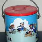Raggedy Ann Andy and Dog Popcorn Tin Metal Can with Handle Lid 1988 MacMillan Inc