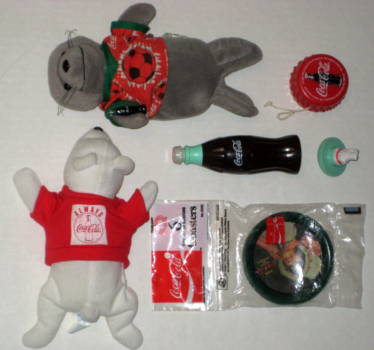 Coca Cola Collectibles Lot Coke Yo Coasters Plush Spinning Bottle Top Toy Velcro Ball Burger King