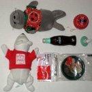 Coca-Cola Collectibles Lot Coke Yo-Yo Coasters Plush Spinning Bottle Top Toy Velcro Ball Burger King