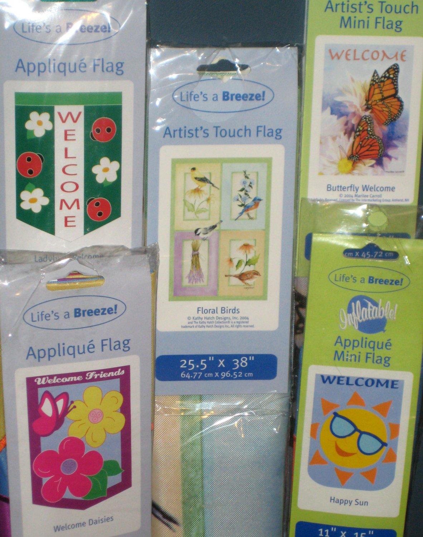 Lot 15 Decorative Garden Flags 5 Different Ladybug Birds Daisies Sun Butterfly 28 x 40 11 x 15 NIP